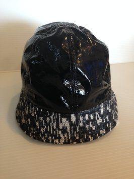 e67e30b2302 Chanel authentic nwt black vinyl and tweed rain hat