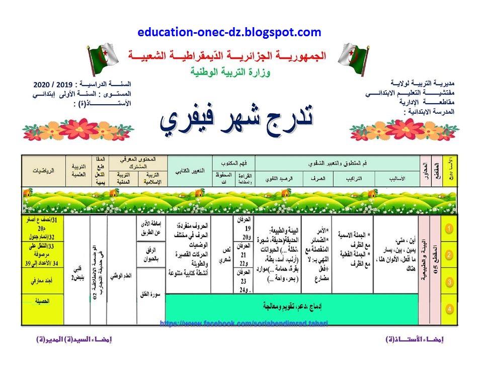 مخطط بناء التعلمات لشهر فيفري للسنة الأولى ابتدائي الجيل الثاني للموسم الدراسي 2019 2020 Education Periodic Table