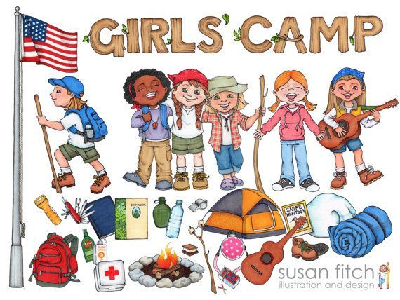Girl Camping Clipart