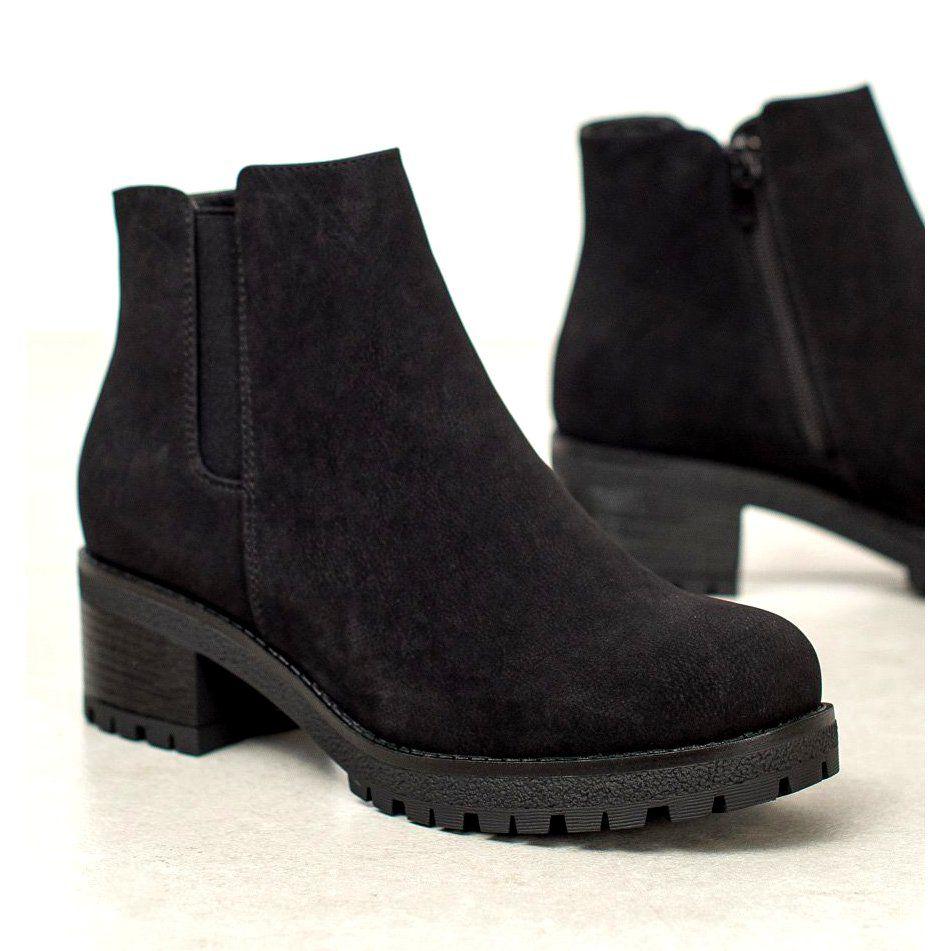 J Star Zamszowe Botki Na Platformie Czarne Boots Comfortable Womens Boots Boot Shoes Women