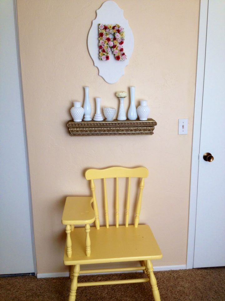 Gold Floating Shelves Custom Yellow Telephone Chair Gold Floating Shelf Milk Glass And Floral Decorating Inspiration