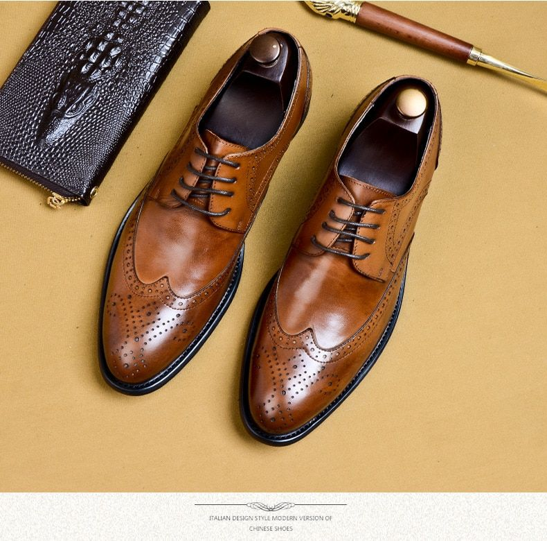 Brogues Buty Meskie Genuine Leather Oxford Shoes For Men Black Formal Shoes Men Leather Shoes Men Leather Oxford Shoes