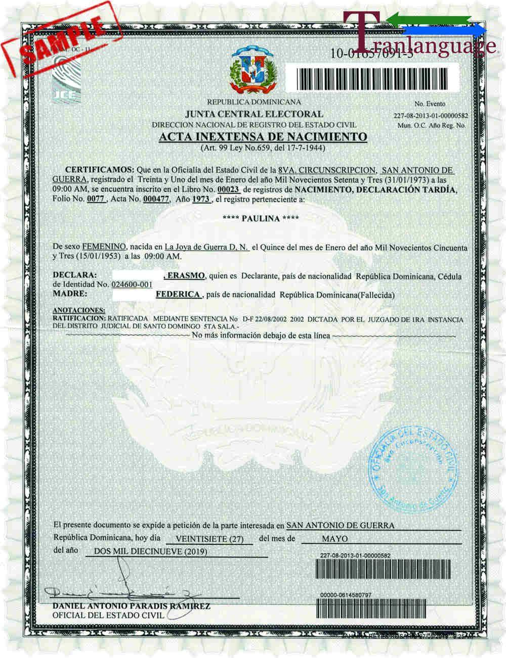 Birth certificate dominican republic within birth