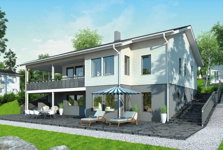 Uudistettu suosikki – Sakari: 158 + 44 m², 6 makuuhuonetta, rinnetalo