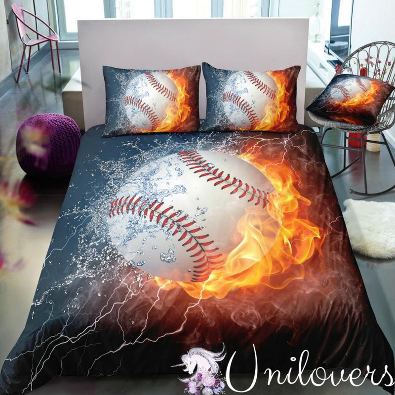 Fire Baseball Bedding Set Baseball Bed Bedding Set Bed Linens Luxury