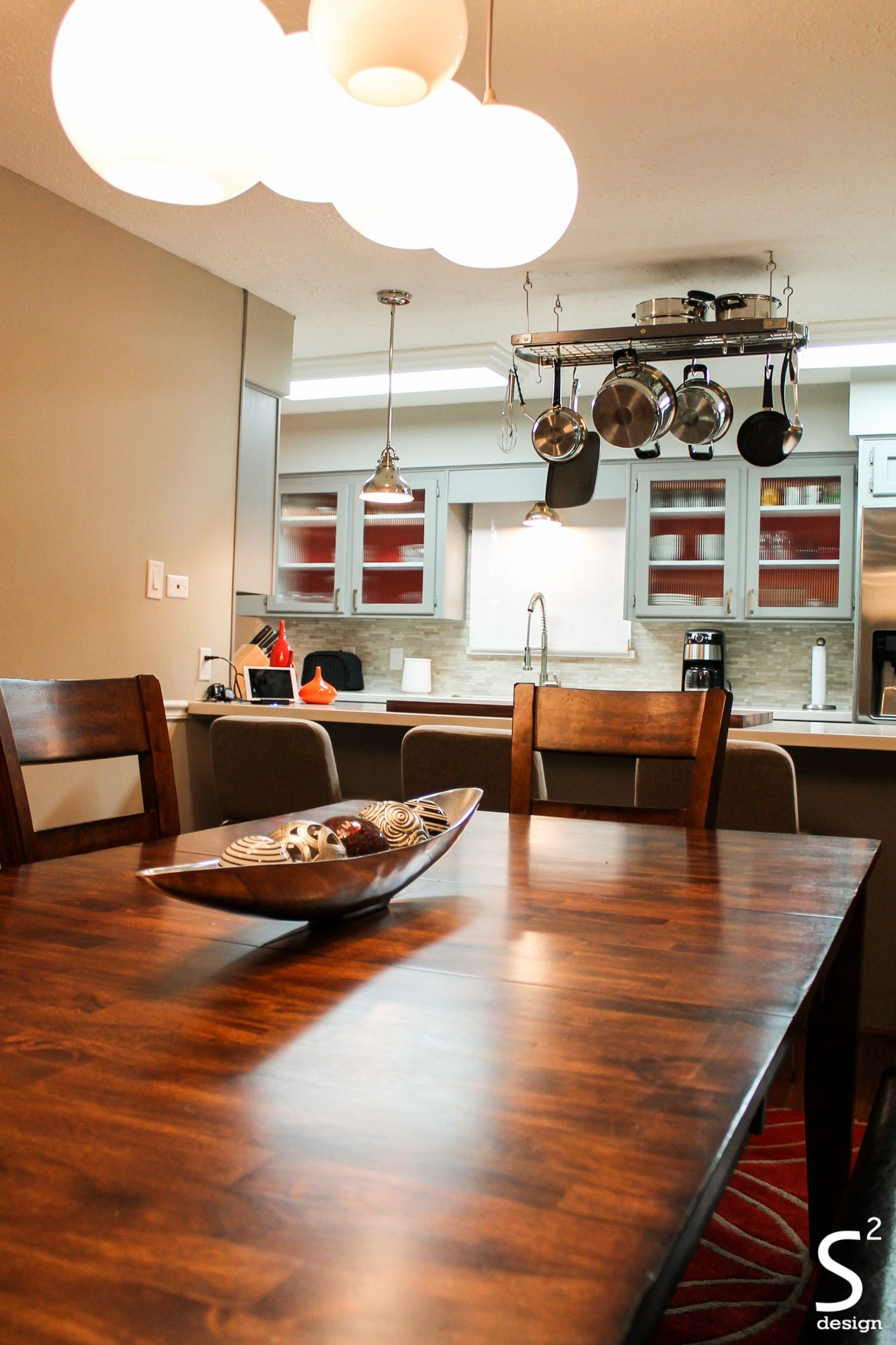Red Kitchen Pendant Lights Dining Room Kitchen Grey Cabinets Red Accent Pot Rack Mid Century