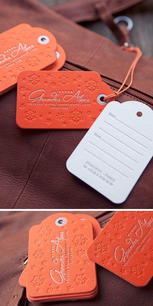 Jolies Tiquettes De Bagage Pour Un Htel Luxe Courchevel Cration Loiseau Ressort Letterpress Luggage Tag With Duplexed Papers In Two Colors
