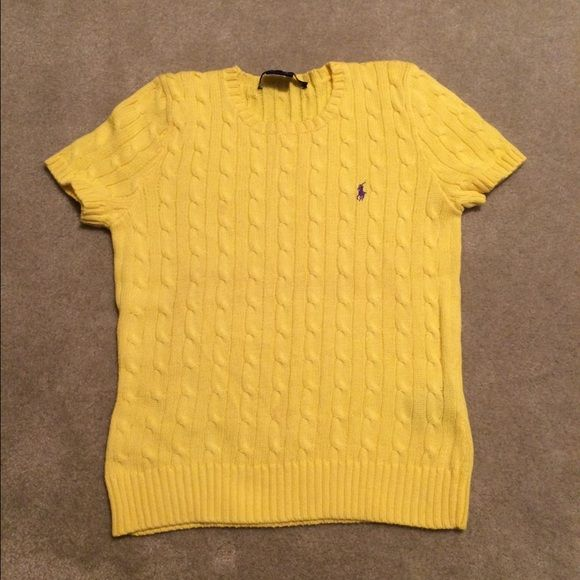 Ralph Lauren Yellow Short Sleeve Sweater | Cable knitting, Scoop ...