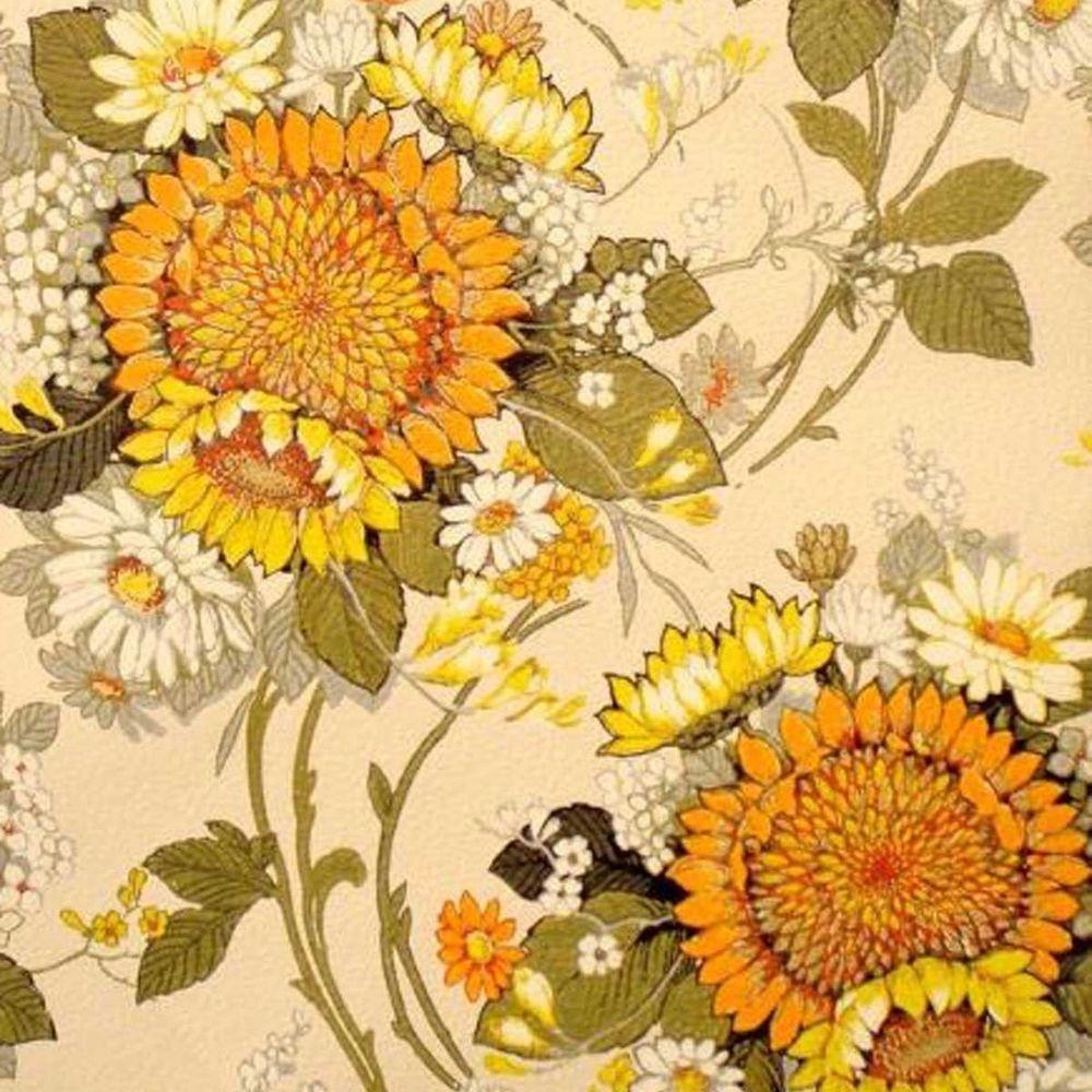 Details About Vintage Original Sunshine Suzy Wallpaper Boho Chic