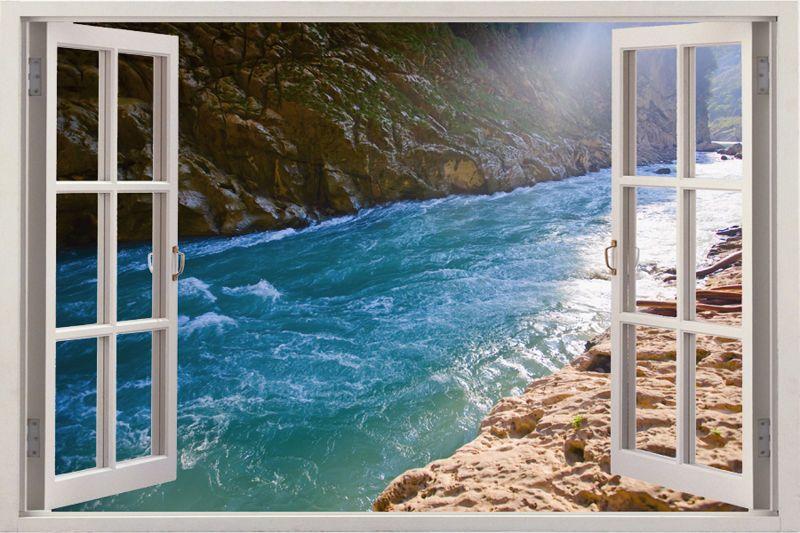 Seascape Window View Decals art Wall Stickers Mediterranean Design Vinyl Wall