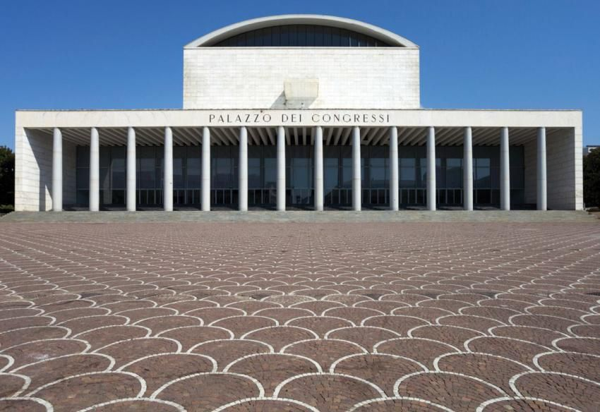 The Palazzo dei Congressi in Rome, designed by Italian architect Adalberto Libera in 1938 and completed in 1954.
