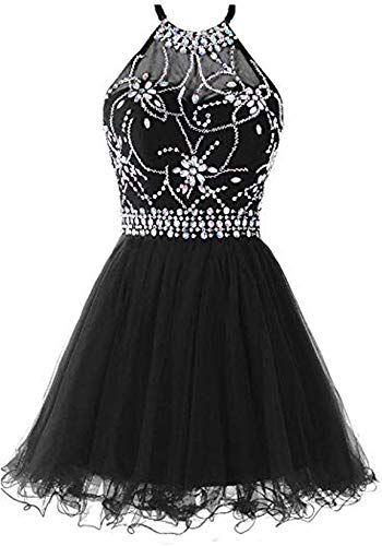 Buy Meijia Handicraft Crystal Halter Homecoming Party Dresses Short Backless Cocktail Beads online #backlesscocktaildress