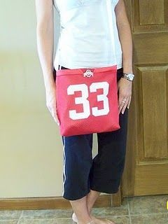 Jersey Tote - want to make one from my Son s Football jersey with his name  on the back! 9e5858641