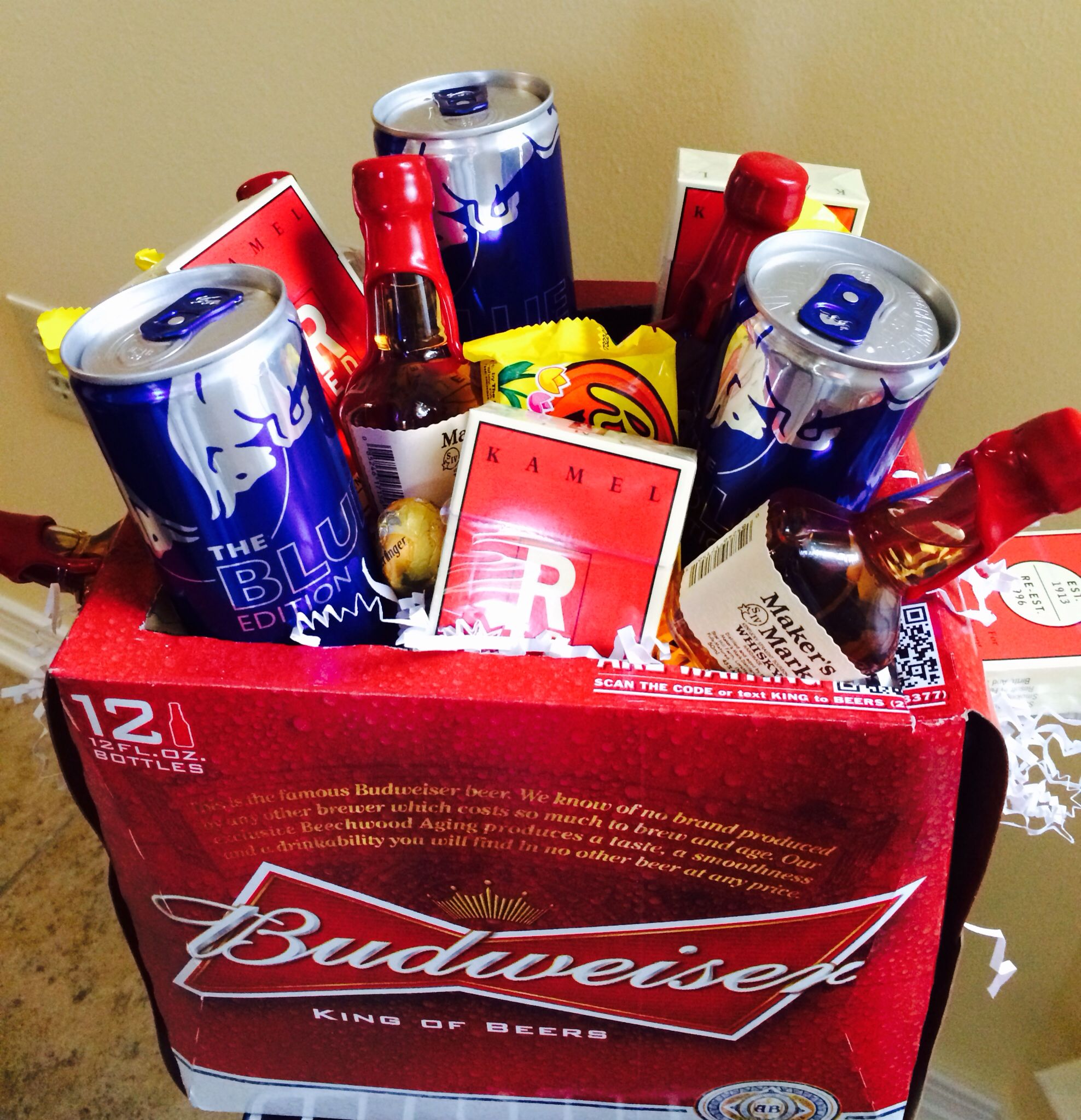 Adult Easter Basket DIY. Made It If A Beer Box And Filled