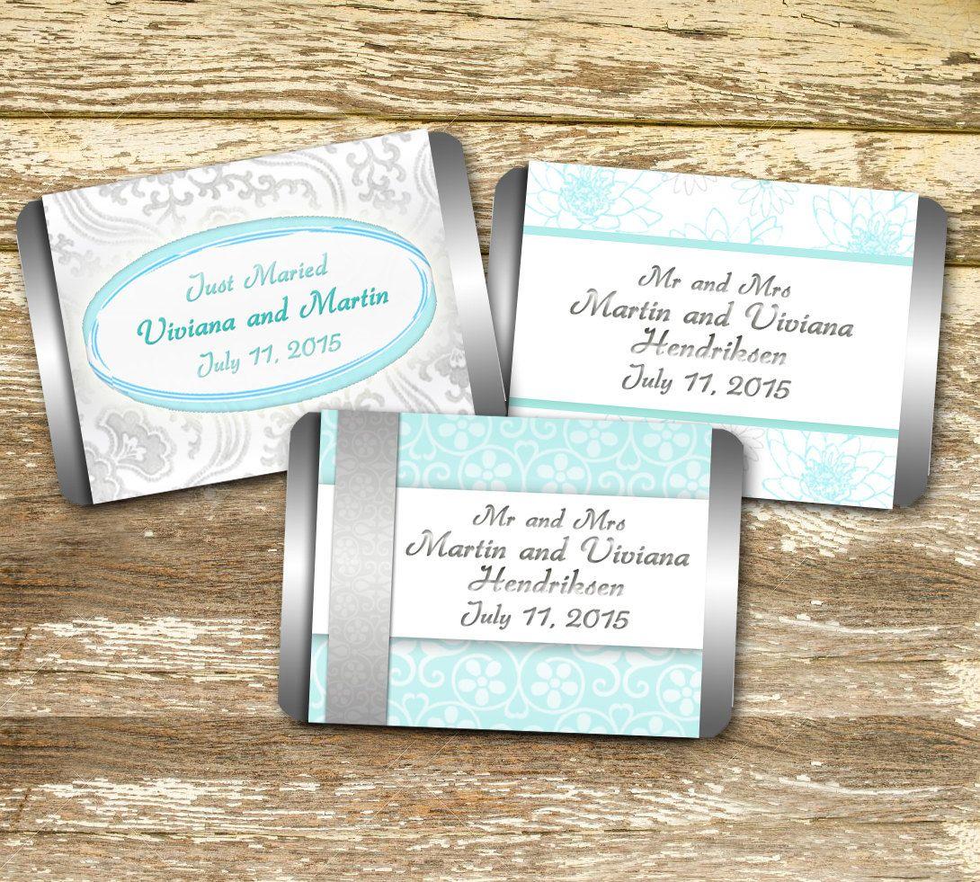 Mini Candy Bar Wrapper - Aqua and Silver Wedding, Mint Wedding ...