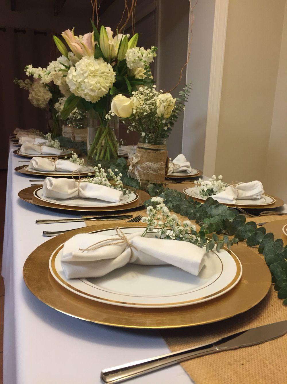 Rustic Table Setting #RusticTableSetting #BurlapandLace #HydrangeasLiliesandRoses #Eucalyptus #BabyBreath #WillowTips