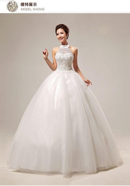 New sweet ground princess lace halter strapless wedding dress ...