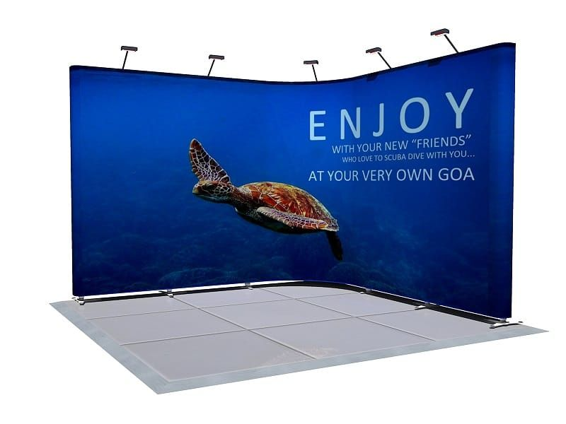 Corner Exhibition Stands Up : Curved banner wall for an exhibition exhibit trade show booth