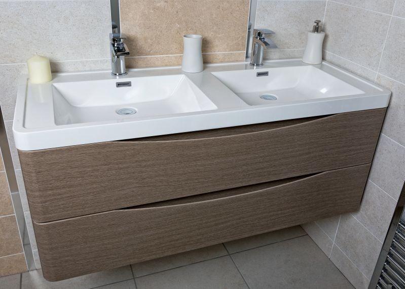 Erin 1200mm Double Basin Vanity Unit Grey Elm Bathroom Units Furniture