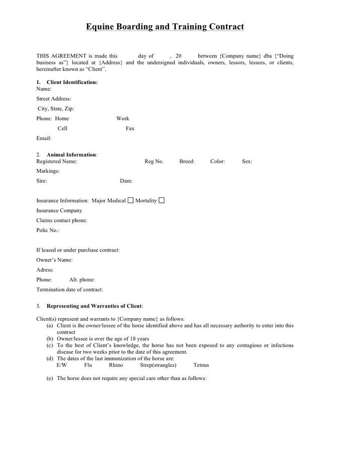 28 Horse Training Contract Template In 2020 Contract Template