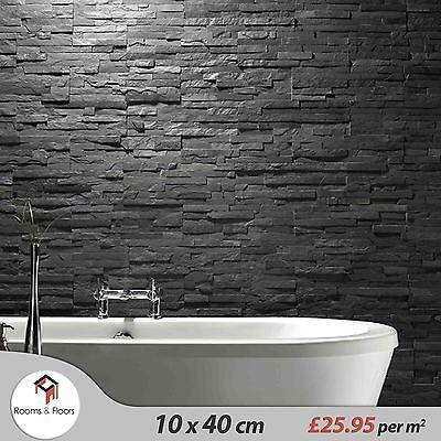 Black Slate Split Face Mosaic Tiles For Walls 25 95 M2 Slate Bathroom Tile Bathroom Wall Tile Slate Bathroom