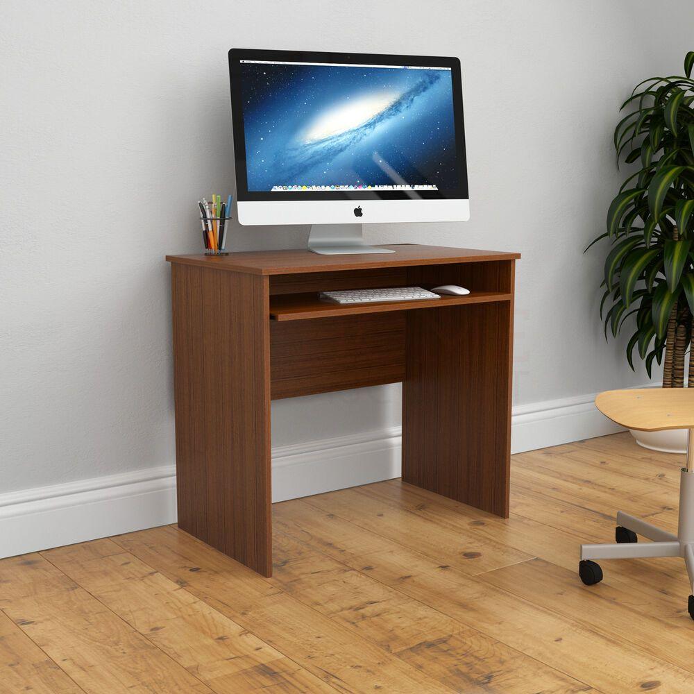 Huby Computer Desk Compact Latop Pc Table Home Office Keyboard Tray Walnut Bureau Home Office