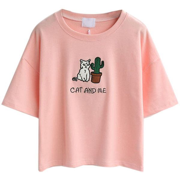 Pink Embroidery Letter And Cat Patch Short Sleeve T-shirt ($18) ❤ liked