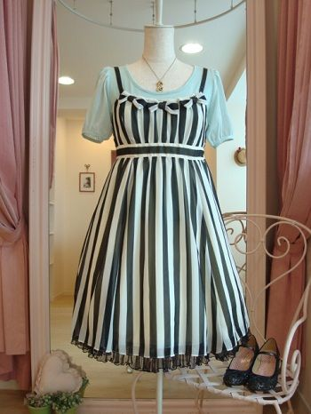 Emily Temple Cute striped georgette no-sleeved onepiece.