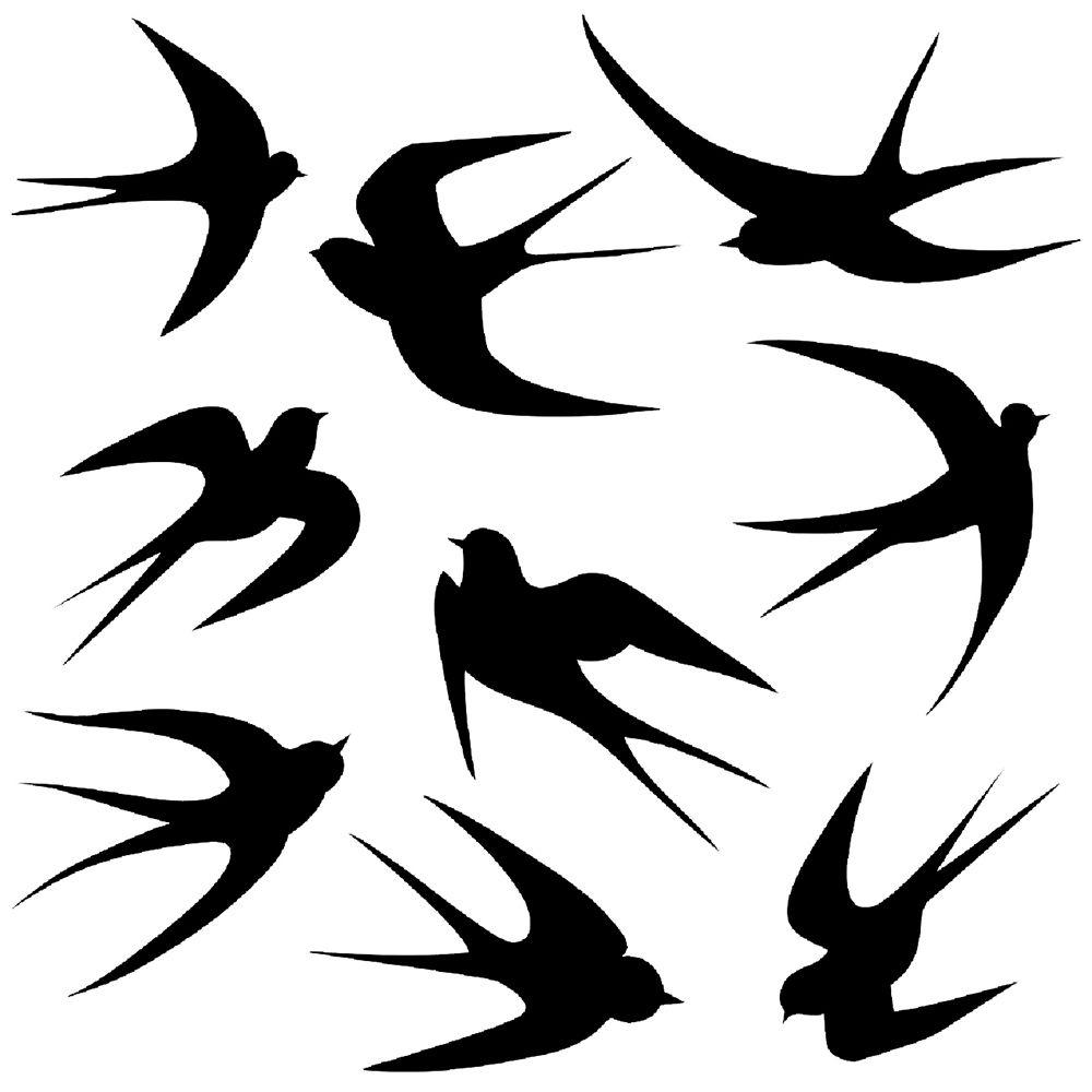 Swallows Profile Stencil 5 Formats Stencils Svg Dwg Dxf Png Pdf