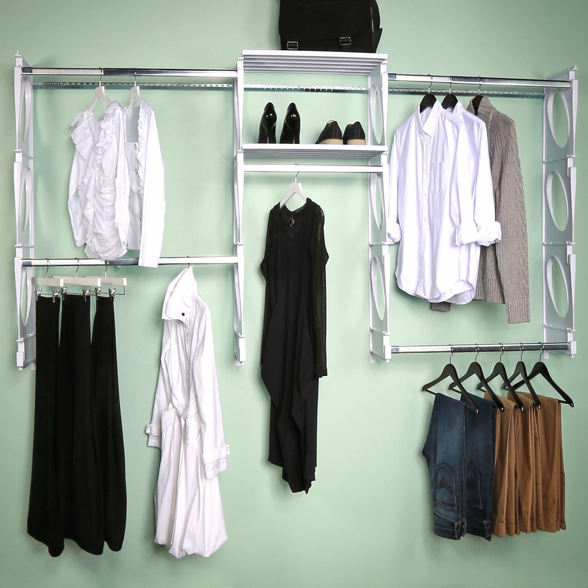 organizer system storage closet with ideas best mounted open wall photos
