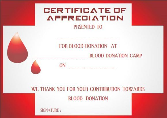 Blood Donation Certificate Template  Donation Certificate Templates