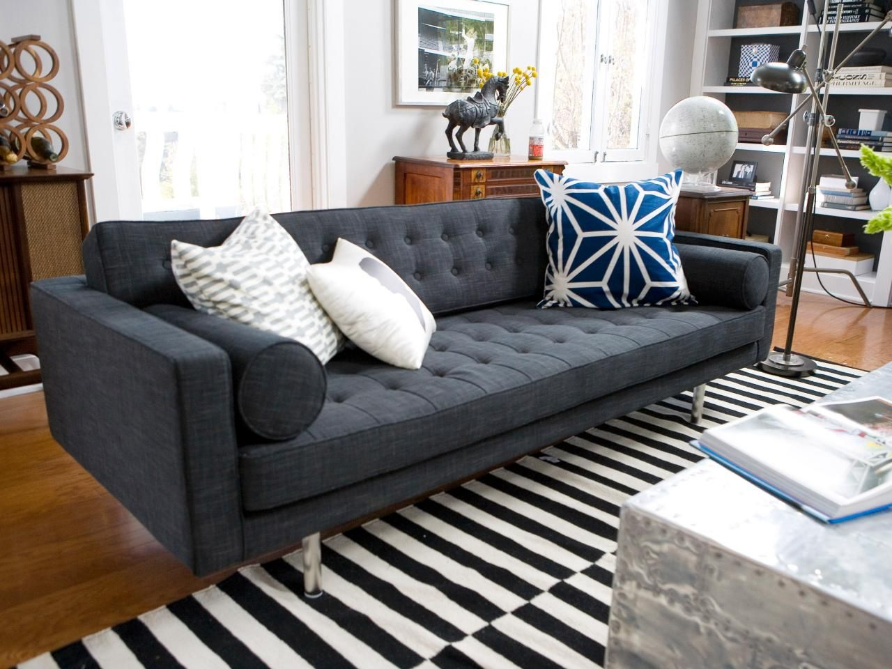 This Midcentury Modern Gray Tufted Sofa Adds A Hip Vibe To