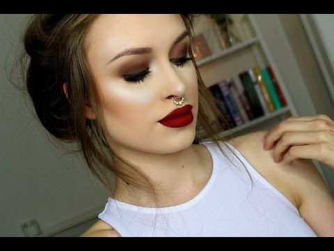 Deep Plum Smokey Eyes Dark Red Lips Tutorial Youtube Red Lip