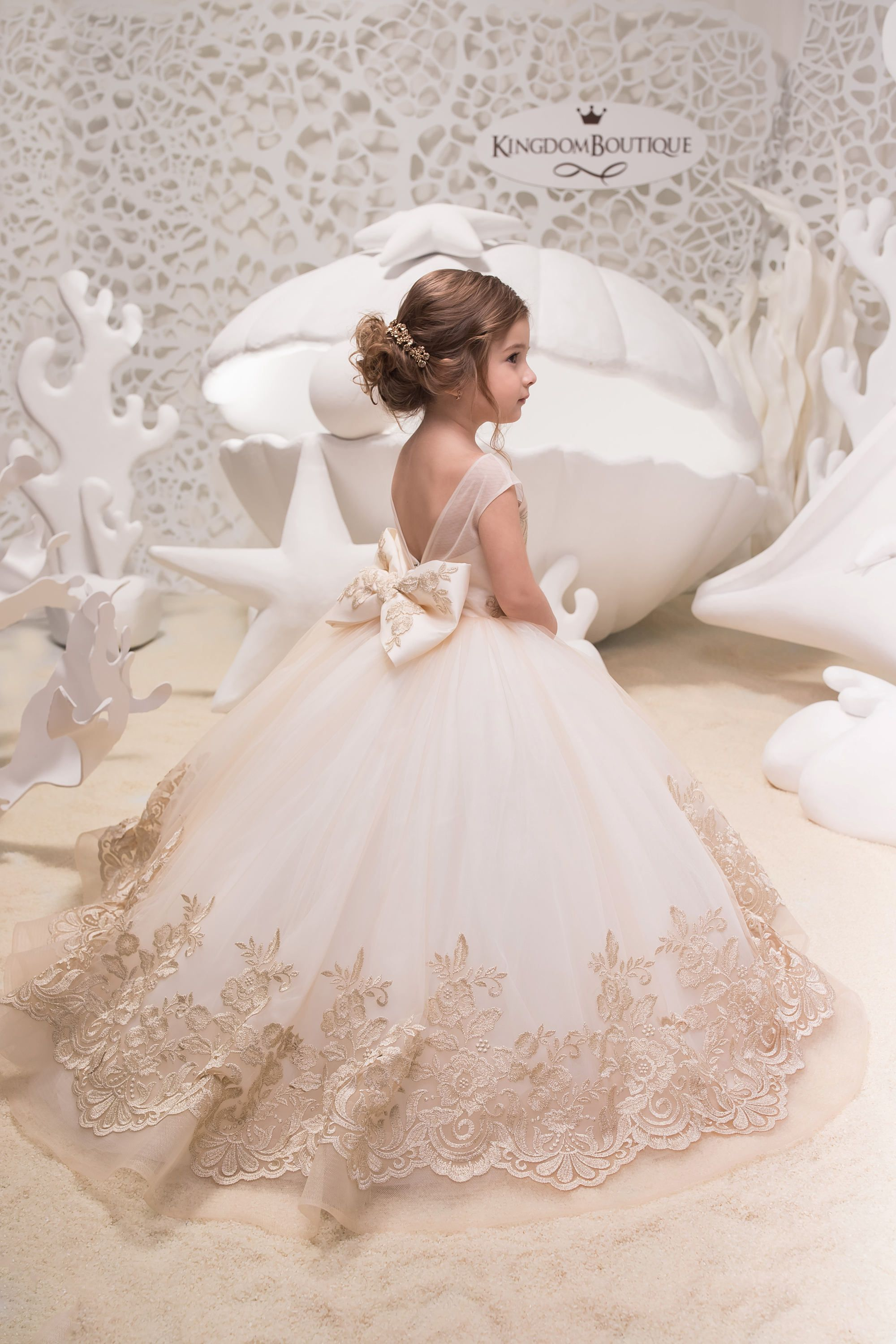 Ivory cappuccino lace tulle dress birthday wedding party
