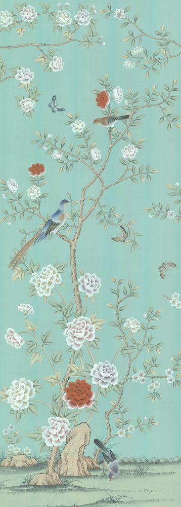 Chinoiserie Handpainted Silk Wallpaper Grand View Garden SILKCASTLEHANDCRAFT