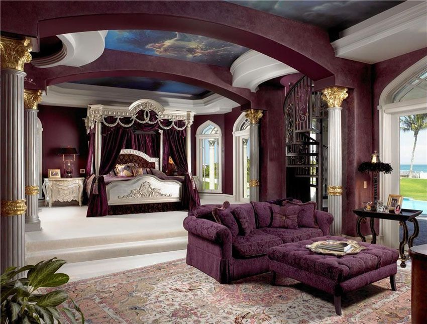 Luxury Purple Bedroom With French Canopy Bed And Furniture