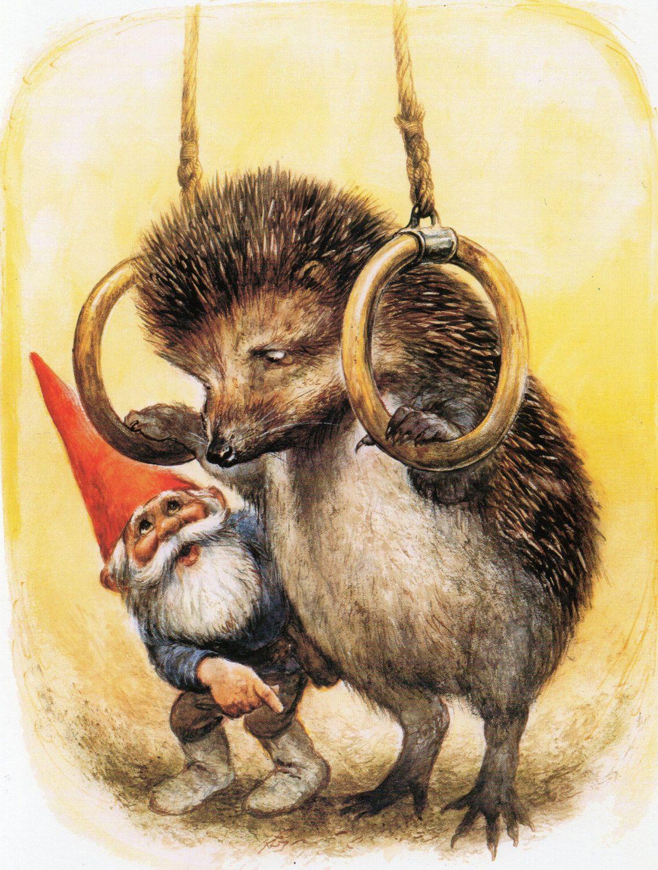 Art Print By Rien Poortvliet Gnome Elf David Hedgehog Etsy David De Kabouter Poortvliet Illustrator