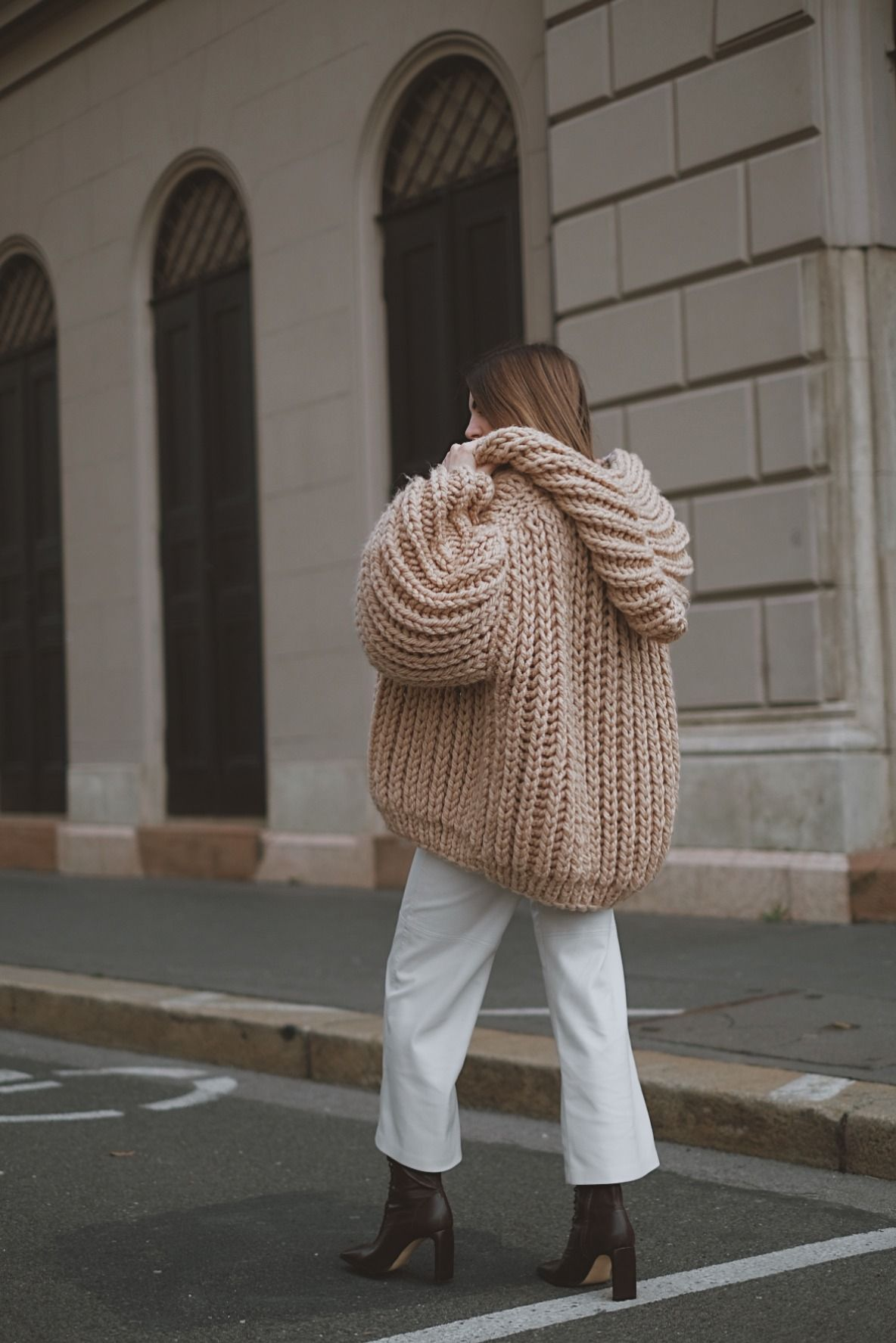@katekavakloglou strolling in the beige gold hooded chunky cardigan