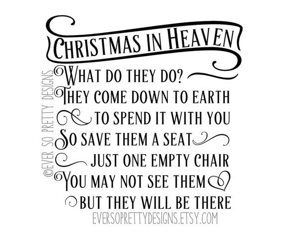 Christmas In Heaven Poem Svg.Svg File Dxf File Christmas Cut File By Eversoprettydesigns