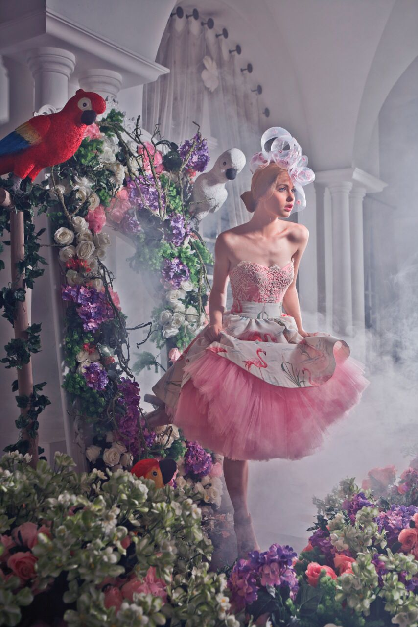 A girl who came out from fairytale world into a real world.. Makes your dream come true.. Dress: Provocate by Meltatan Flamingo pattern skirt with tutu pink tule layers..