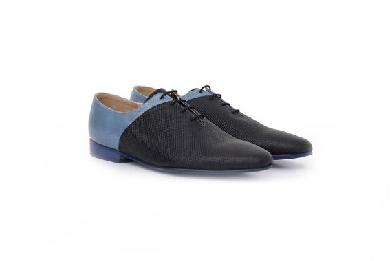d78931f0c0c Women's shoes pointy flats , Blue black leather shoes wide , handmade  unique shoe , ADIKILAV , new