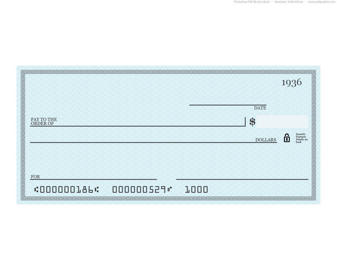 Blue Check Psd Template in 2020 Printable checks, Blank