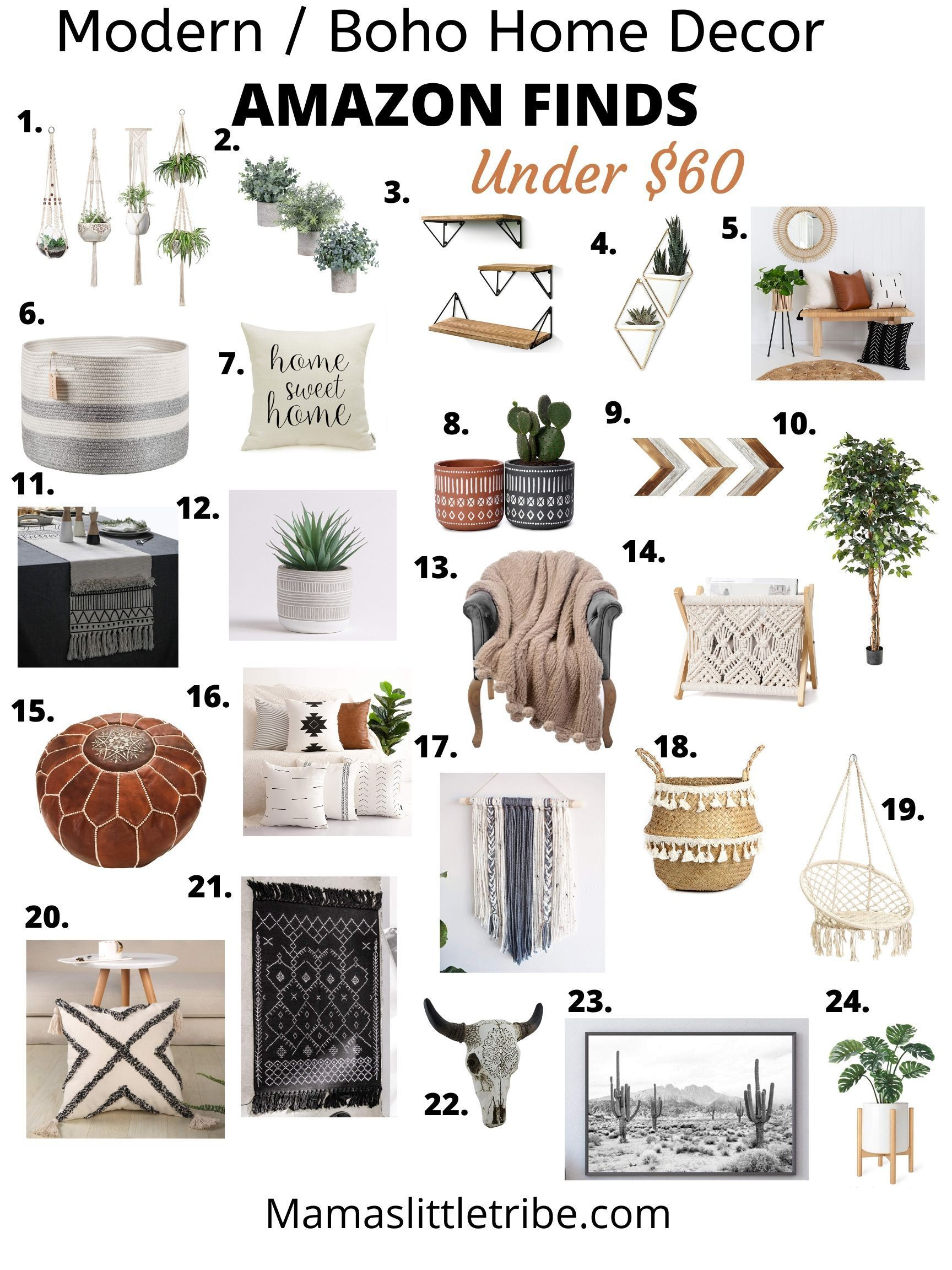 Affordable Amazon Home Decor Must Haves! Under $60 - Looking for affordable Farmhouse, Modern or boho home decor I've got you covered with my amazon fa -