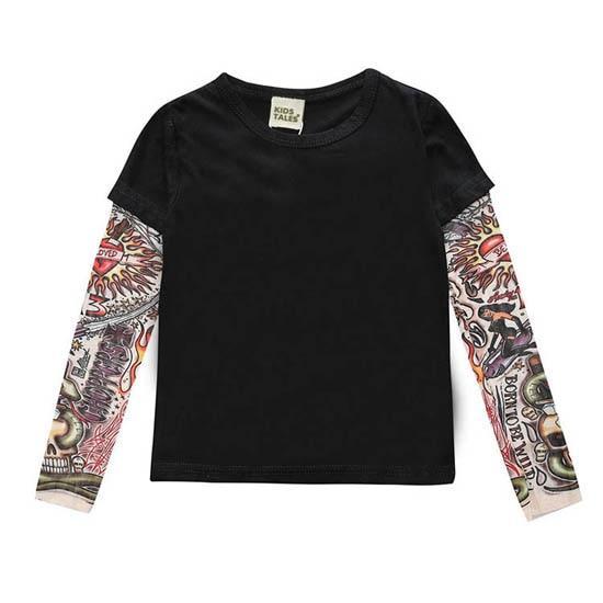 Novelty Tattoo Long Sleeve Children T-Shirts Cotton Boys T Shirt Kids TShirt