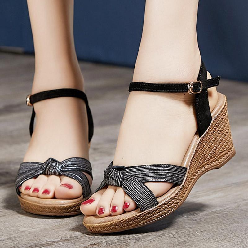 Wedge Heel Date Genuine Leather Sandals