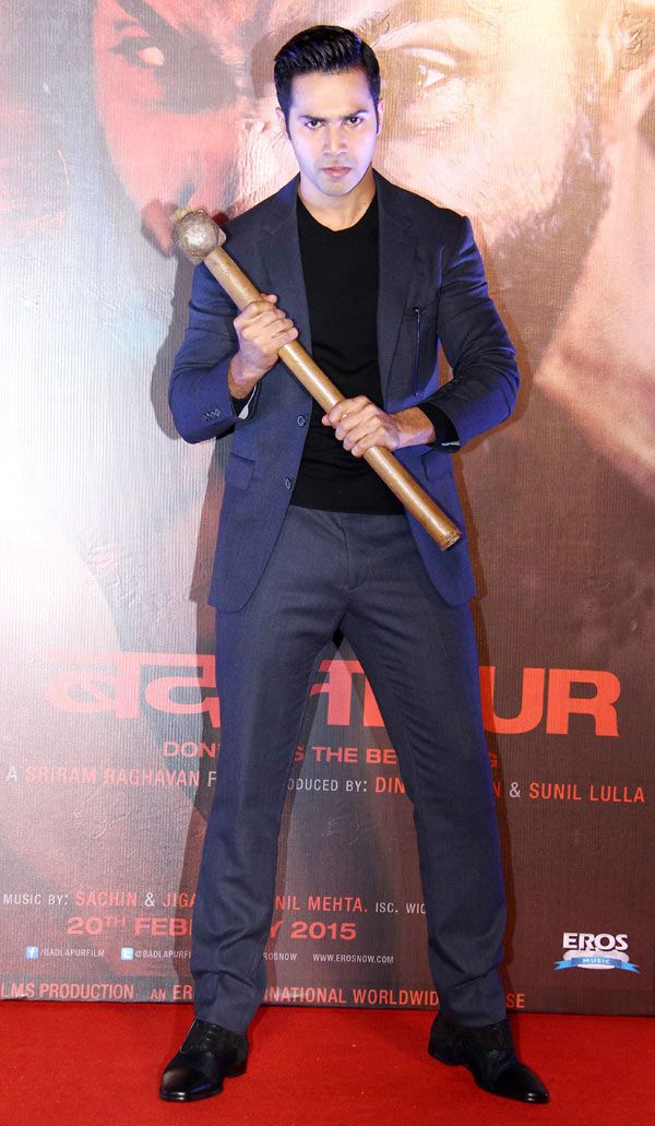 Hammer In Hand Varun Dhawan Strikes A Pose At The Trailer Launch
