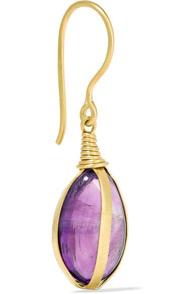 Pippa Small 18-karat Gold Amethyst Earrings 4UdiOsS6Uh