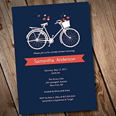 Bridal shower invitations bridal shower invitations pinterest blue cute bicycle bridal shower invitations rachel colors can be changed filmwisefo