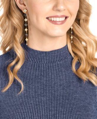 92a1c2fa2b7bf Swarovski Two-Tone Crystal & Imitation Pearl Linear Drop Earrings ...