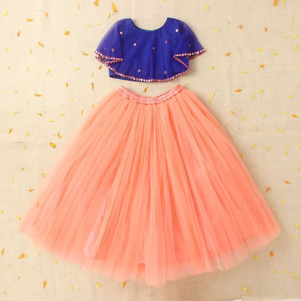 Hopscotch buy crop top with cape and peach lehenga skirt for Cape designs